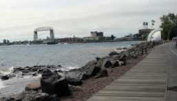 View of Bridge and Vietnam Memorial- Lakewalk Duluth MN