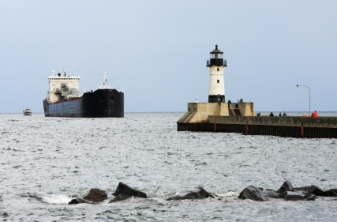 Lighthouse on Pier with Ship- Canal Park Duluth, MN