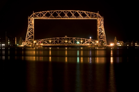 Aerial Lift Bridge at Night